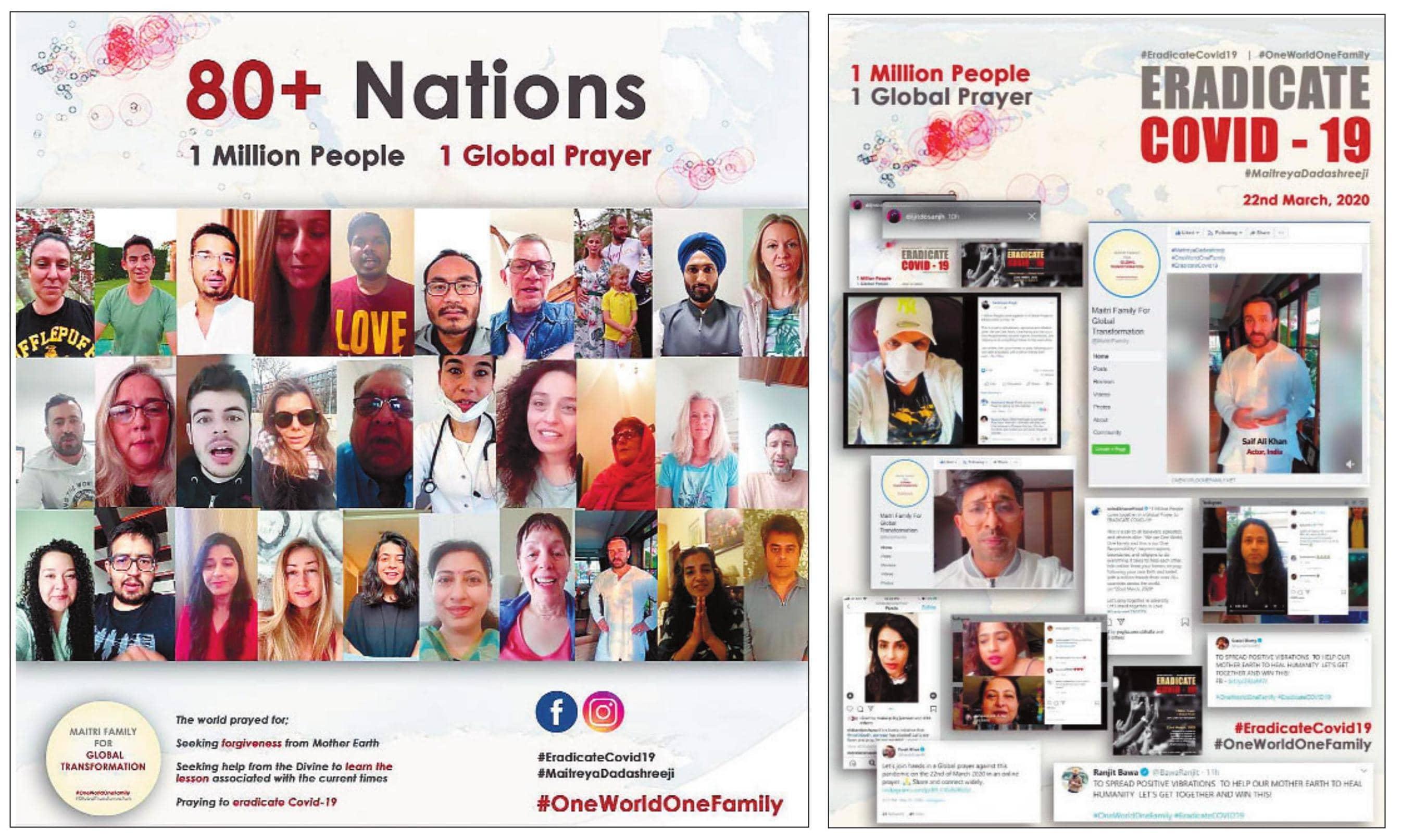 80 देशों के 10 लाख से ज्यादा लोगों ने कोरोना को हराने के लिए एक साथ की प्रार्थना