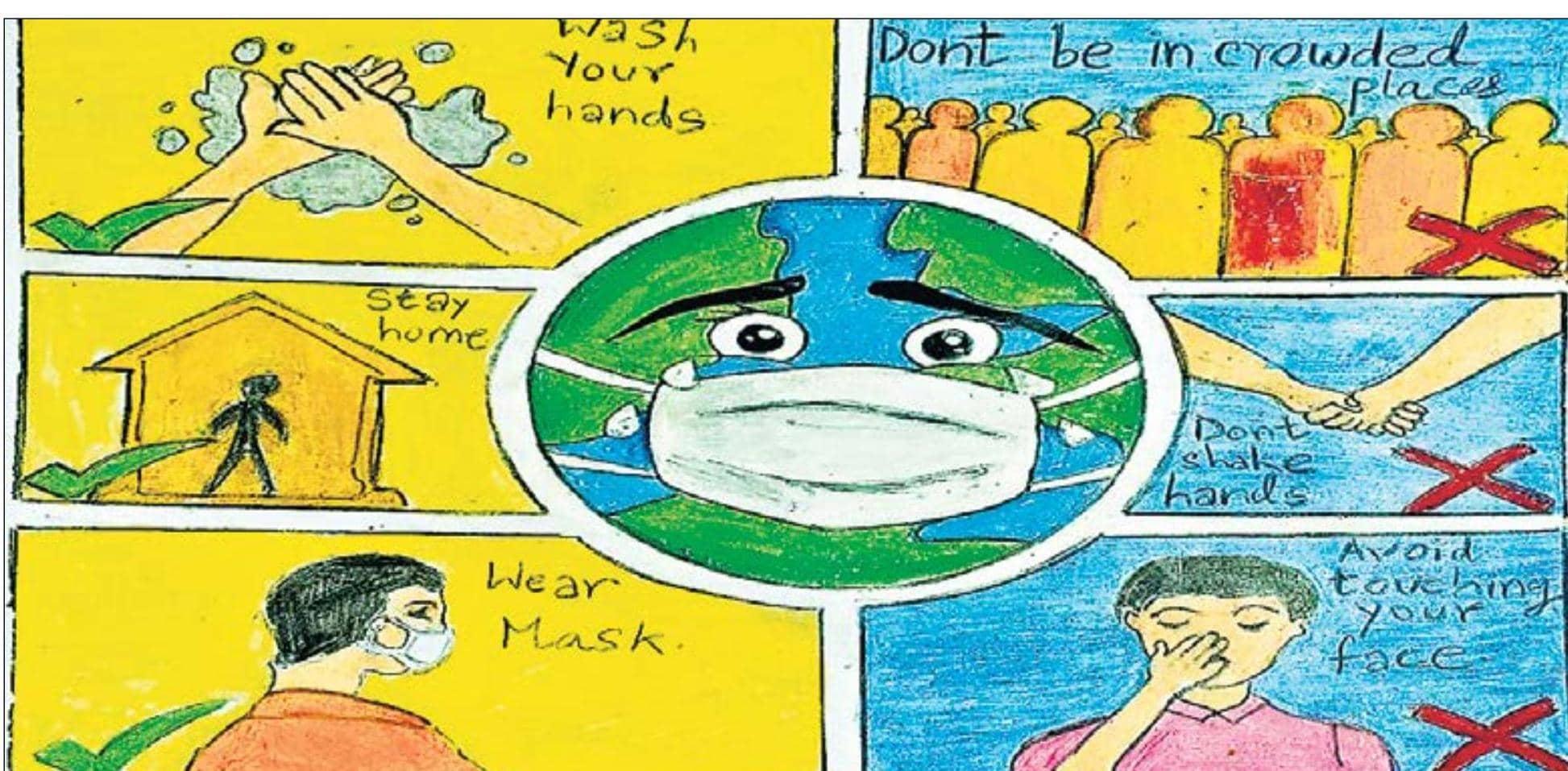 बच्चों ने पेंटिंग से दी कोरोना वायरस से लड़ने की सीख