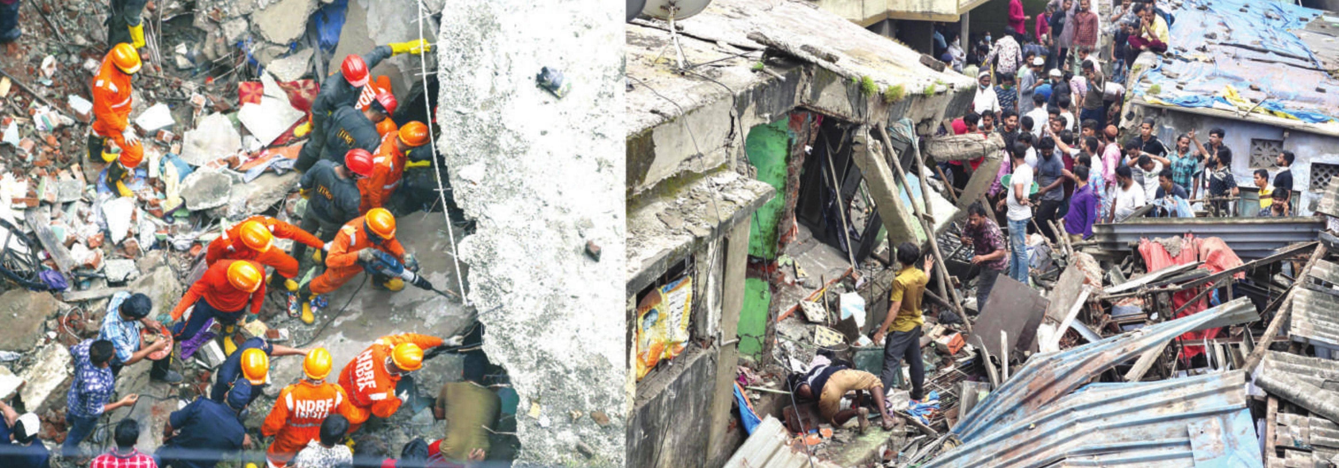 ठाणे के भिवंडी में तीन मंजिला इमारत गिरने से 13 की मौत, एक बच्चे को बचाया गया; 20-25 लोगों के फंसे होने की आशंका